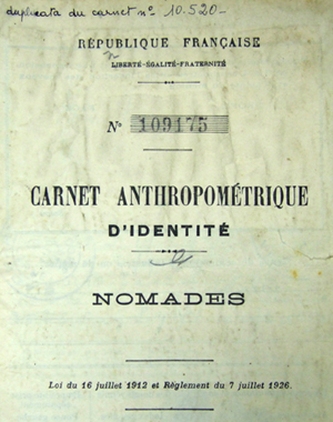 Carnet anthropométrique Tsigane.
