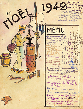 Carte de Noël 1942 au Camp de Mauzac. Chat bouilli au menu.