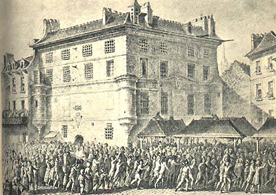 Gravure représentant la prison de l'Abbaye pendant la Révolution.