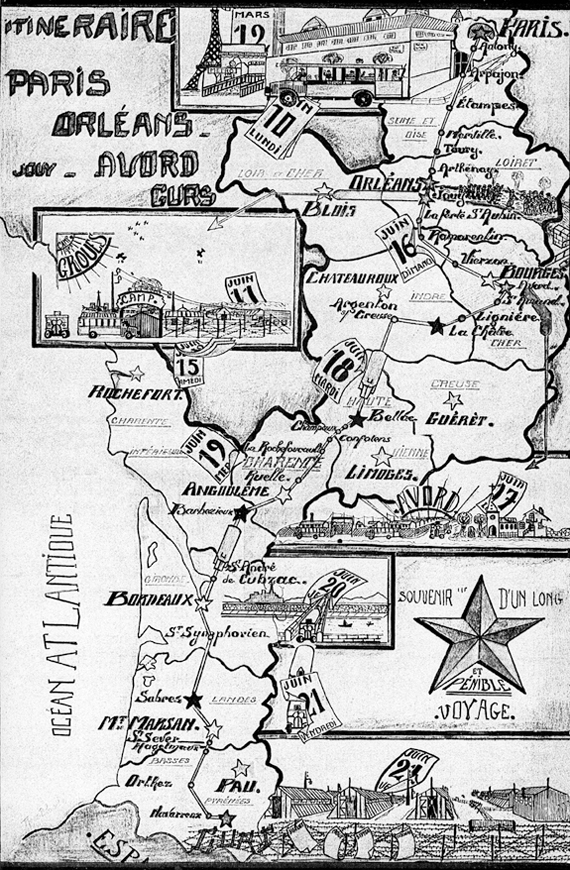Carte du repli de la prison militaire du Cherche-Midi et de la Santé en juin 1940.