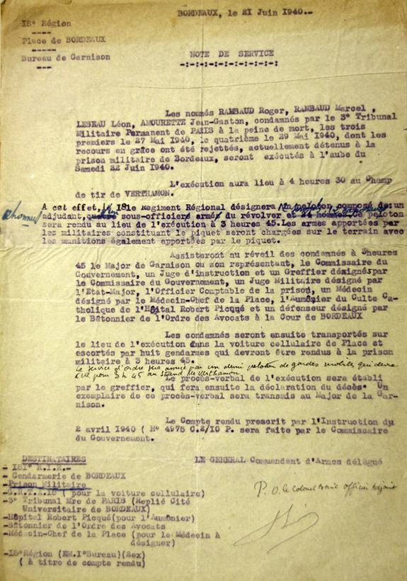 Note de service du 21 juin 1940 relative à l'exécution de 4 condamnés à mort.