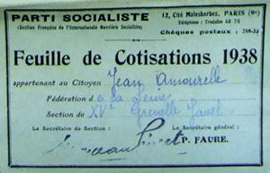 Carte d'appartenance de Jean Amourelle à la SFIO pour l'année 1938