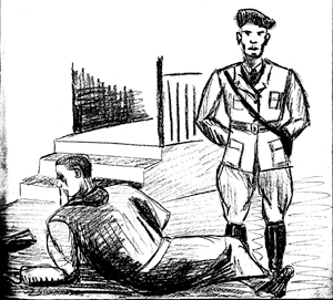 """Dessin illustrant le texte de Pierre Bloch sur """"les cloches"""". Prison militaire de Mauzac."""