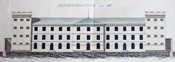 Façade du projet de la nouvelle prison militaire de la rue du Cherche-Midi en 1833