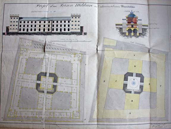 Projet d'une maison d'arrêt militaire dans l'emplacement de la manutention des vivres de l'armée.