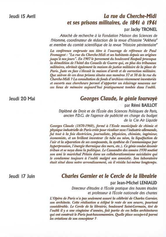 Conférences organisées par la Société Historique du VIe à Paris, d'avril à juin 2010.