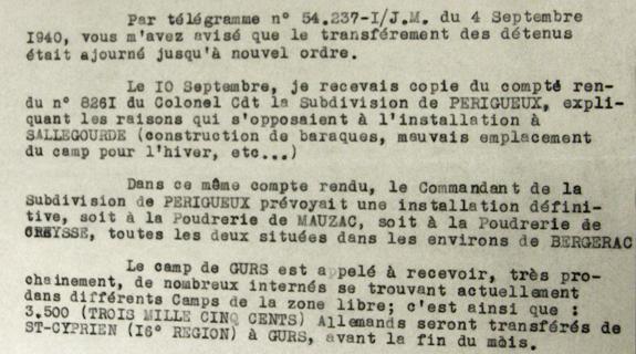 Archives justice militaire. Projet camp de Sallegourde à côté de Périgueux.