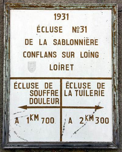 Écluse de la Sablonnière, à Conflans-sur-loing, près de laquelle le comte Thierry de Ludre aurait été exécuté, le 15 juin 1940.