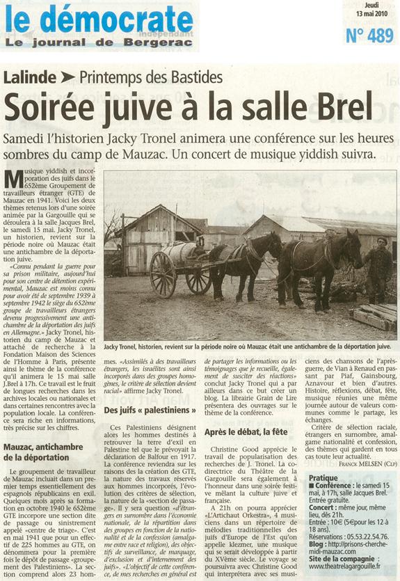 """Journal Le Démocrate de Bergerac du 13 mai 2010 annonçant la conférence sur le GTE """"palestinien"""" à Mauzac."""