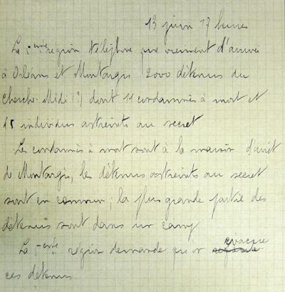 Note blanche donnant des instructions sur les prisonniers du Cherche-Midi et de la Santé.