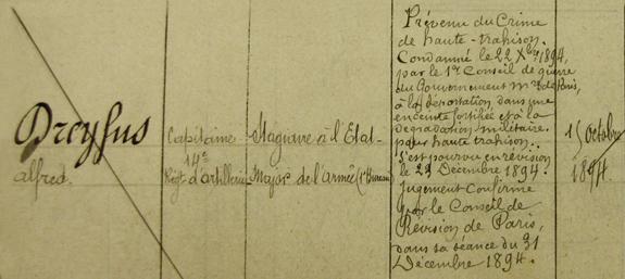 Alfred Dreyfus figure sur le registre d'écrou de la prison militaire de la rue du Cherche-Midi.