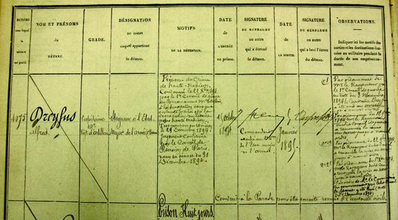 Registre d'écrou de la maison militaire d'arrêt et de correction de la place de Paris. Capitaine Dreyfus.