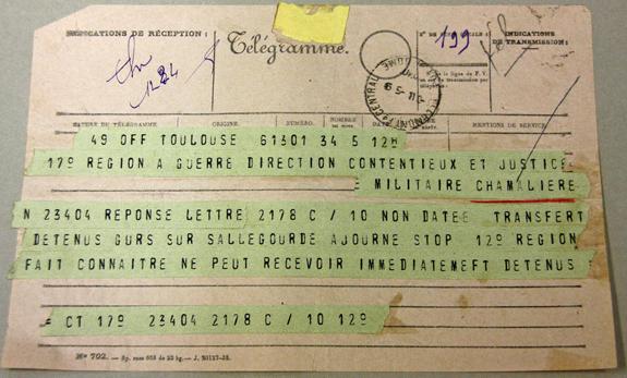 Télégramme du 5 septembre 1940 ajournant le transfert des prisonniers de Gurs vers le camp de Sallegourde.