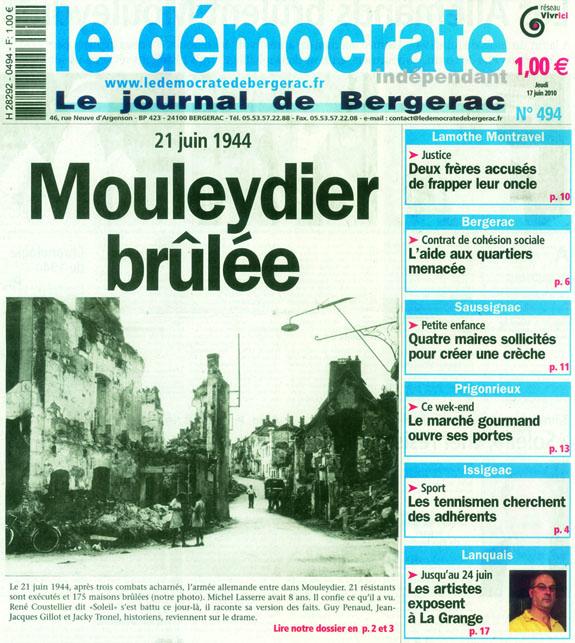 Couverture du journal Le Démocrate indépendant de Bergerac du 17 juin 2010.