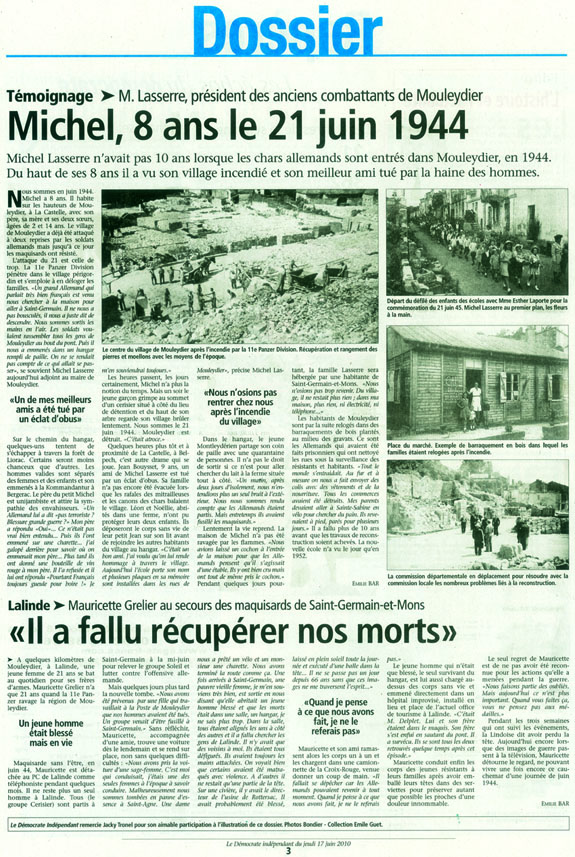 Témoignages de témoins et acteurs de la journée du 21 juin 1944 à Mouleydier.