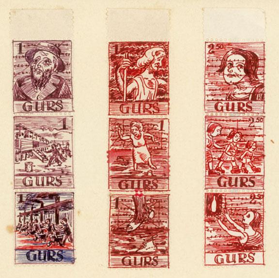 Planche de pseudo-timbres dessinés par l'artiste allemand Karl Schwesig à Gurs en 1941.