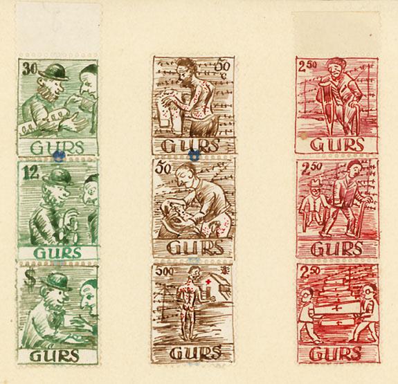 Scènes de vie au camp de Gurs, hiver 1940-41, dessins de Karl Schwesig.