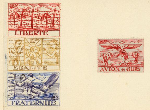 """""""Liberté - Égalité - Fraternité"""". Timbres dessinés en 1941 au camp de Gurs par Karl Schwesig."""
