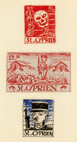 Artistamps de Karl Schwesig du camp de Saint-Cyprien.