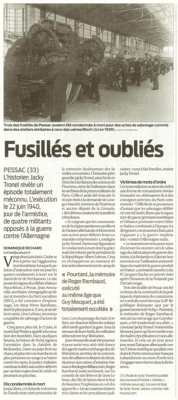 Journal Sud-Ouest du 22 juin 2010 commémorant le souvenir des fusillés de Pessac