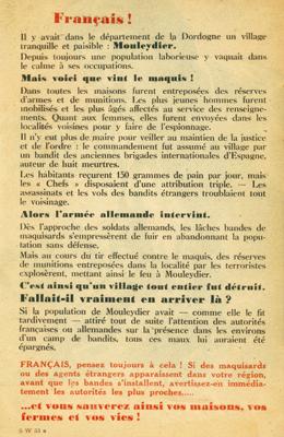 Tract de propagande allemand, Mouleydier juin 1944.