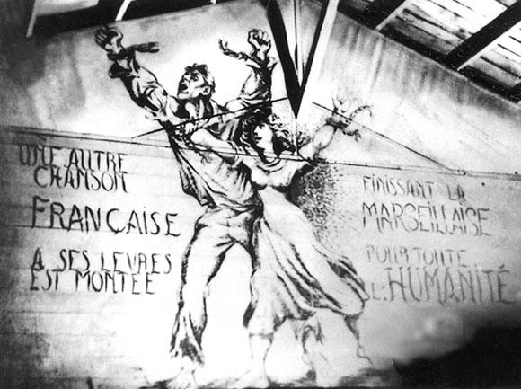 Fresque de Boris Taslitzky, Camp de Saint-Sulpice la Pointe, d'après un poème d'Aragon.
