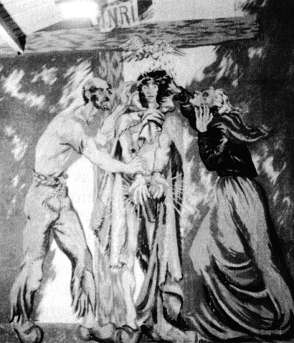 Fresque de Boris Taslitzky au camp de Saint-Sulpice la Pointe, chapelle.
