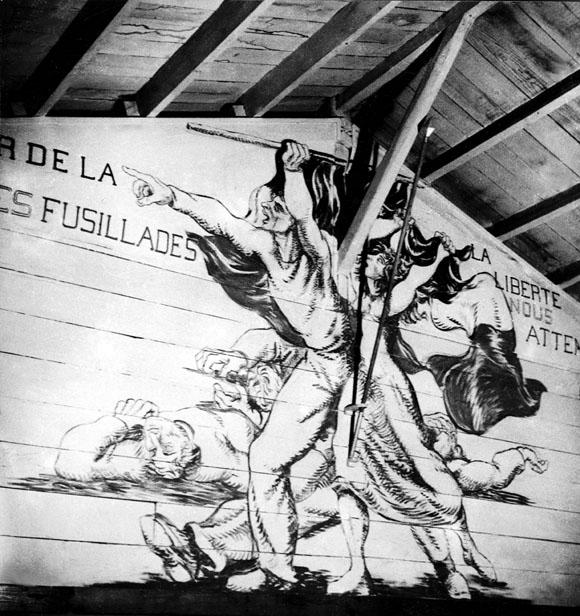 Fresque de Boris Taslitzky au camp de Saint-Sulpice la Pointe. Par delà ces fusillades.