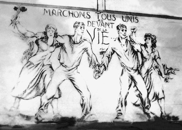 Fresque de Boris Taslitzky au camp de Saint-Sulpice la Pointe. Marchons tous unis...