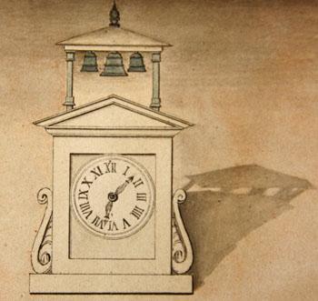 Dessin du génie militaire de la Place de Paris à propos du projet d'installation d'une horloge dans la cour de la prison du Cherche-Midi.