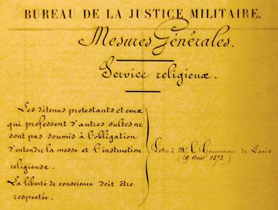 Mesures générales, service religieux, bureau de la Justice militaire, 1873.