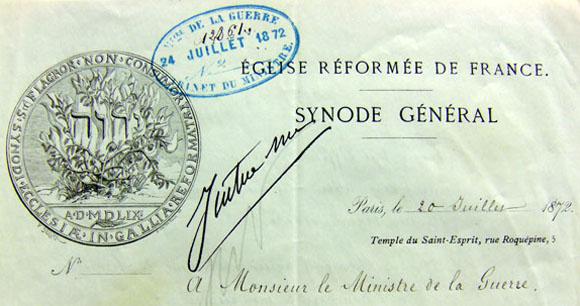 En-tête de lettre du Synode général de l'Église réformée de France du 20 juillet 1872. Concentration des prisonniers protestants dans un même pénitencier.