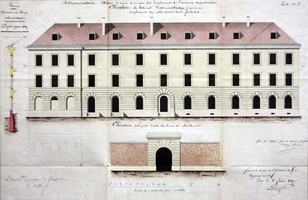 Élévation de la prison militaire de Paris et de la porte d'entrée, SHD-DAT, 1 VH 1365.