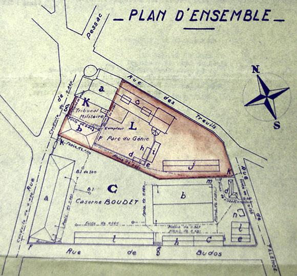 Plan d'ensemble de la caserne Boudet, rue de Pessac à Bordeaux, siège du tribunal militaire et de la prison militaire de Bordeaux.