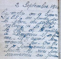 Extrait du journal de Renée Guimberteau, habitant Mussidan en Dordogne, à la date du 2 septembre 1944.