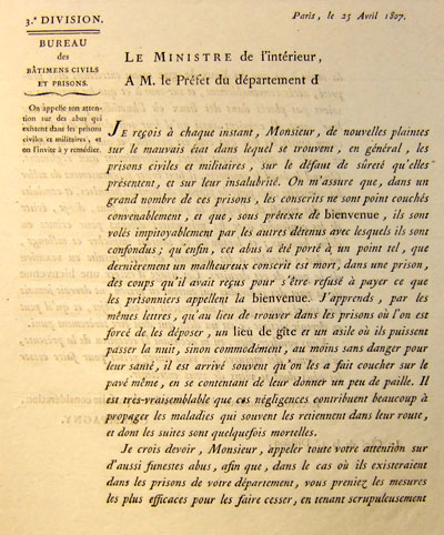 Lettre circulaire du ministre de l'Intérieur Champagny sur l'usage de la bienvenue dans les prisons.