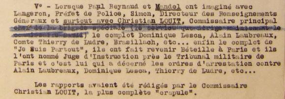 Note des RG sur le juge d'instruction Pierre Béteille et son implication dans l'arrestation de certains membres du journal fasciste Je Suis Partout.
