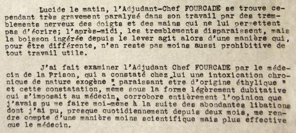 Rapport du Lieutenant Gitard sur l'Adjudant-chef Paul Fourcade.