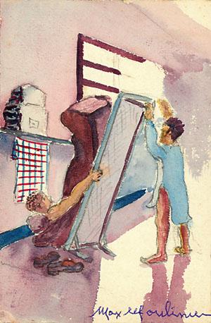 Chahut dans un dortoir de la prison militaire de Mauzac. Dessin de Max Moulinier.