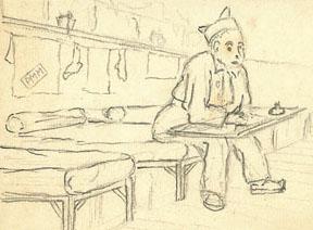 Prisonnier de Mauzac occupé à écrire à ses proches. Dessin de Max Moulinier.