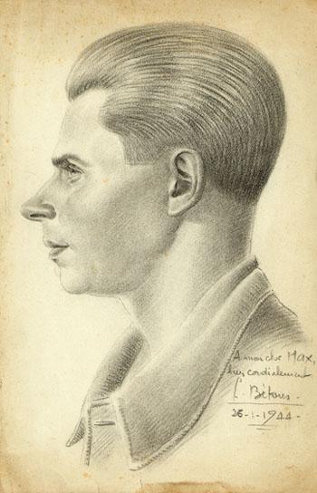 Portrait de Max Moulinier dessiné par Louis Béthous, 26 janvier 1944, prison militaire de Mauzac