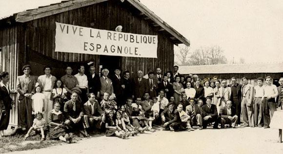 Espagnols au Camp de Masseube dans le Gers.