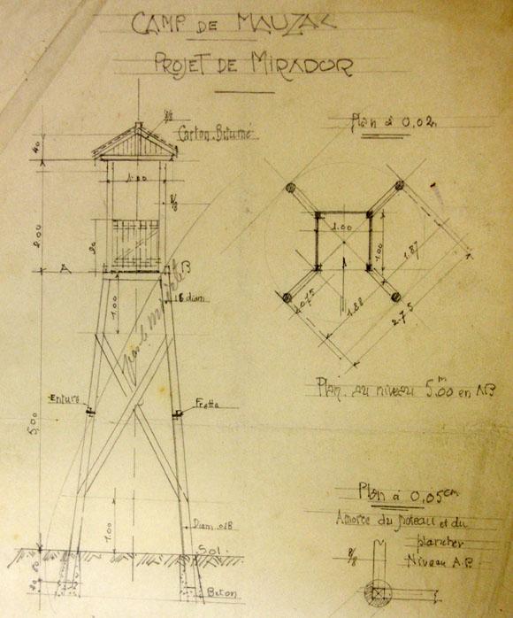 Plan pour le projet de construction d'un mirador à la prison militaire de Mauzac.