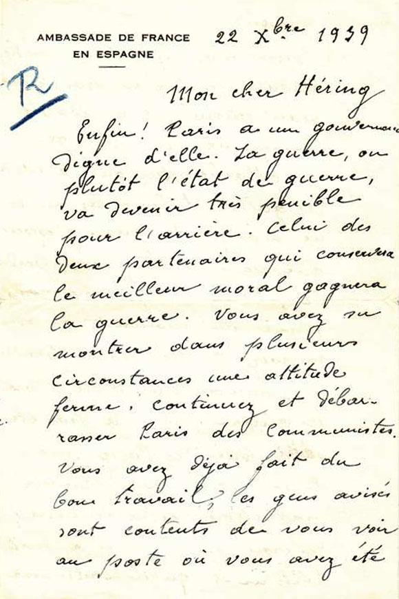 Lettre de félicitations de Philippe Pétain au Général Héring, nouveau gouverneur militaire de Paris