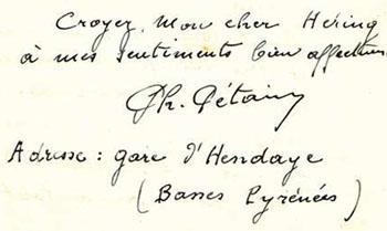 Signature de Philippe Pétain à sa lettre du 22 décembre 1939, adressée au Général Héring.