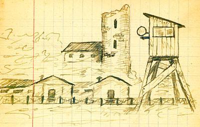 Prison militaire de Mauzac avec l'un des miradors et en fond le donjon du château de Larue