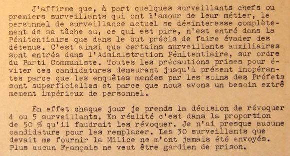 Extrait de la lettre de Jocelyn Maret, adressée le 22 mai 1944 à Joseph Darnand.