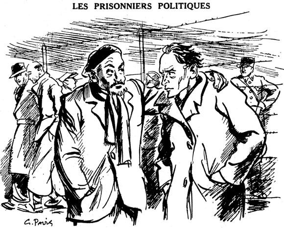 """""""Les prisonniers politiques"""", dessin satirique du quotidien collaborationniste """"La France au Travail"""", du 3 septembre 1940"""