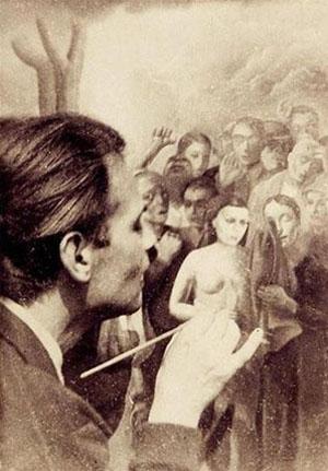 """Felix Nussbaum peignant la toile """"Tempête"""" en 1941."""