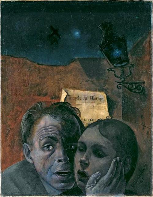"""Felix Nussbaum, """"La peur avec sa nièce Maria,nne"""", 1941."""